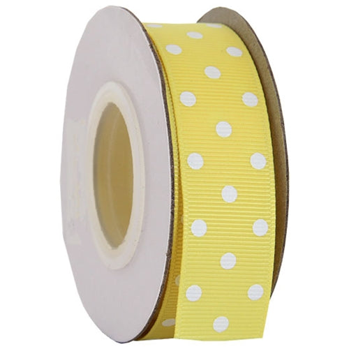 "Grosgrain Dots Ribbon 7/8"" - 10 Yards - Yellow - Threadart.com"