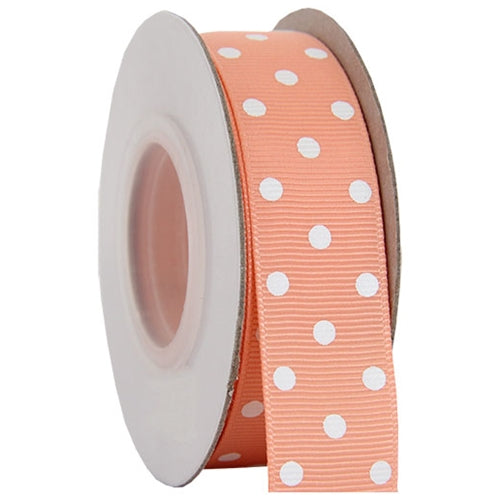 "Grosgrain Dots Ribbon 7/8"" - 10 Yards - Peach - Threadart.com"