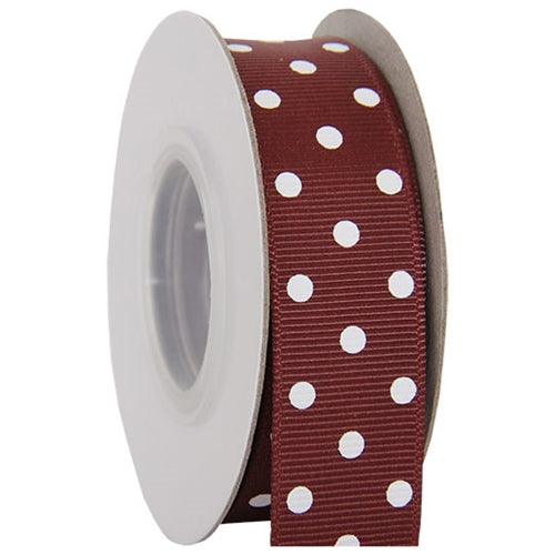 "Grosgrain Dots Ribbon 7/8"" - 10 Yards - Chocolate - Threadart.com"