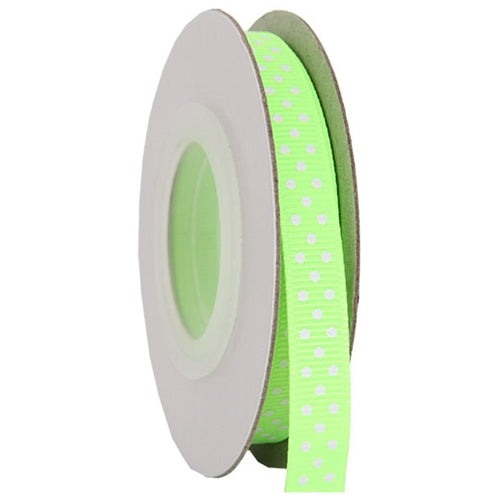 "Grosgrain Dots Ribbon 3/8"" - 10 Yards - Neon Green - Threadart.com"