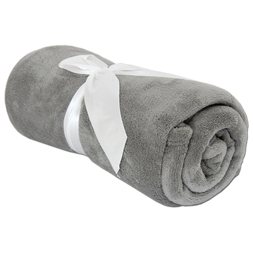 Pack of 3 Plush Fleece Blanket - Grey - Threadart.com