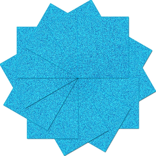 "Pack of 10""x12"" Sheets  Glitter Heat Transfer Vinyl - Aqua - 12 Sheets - Threadart.com"