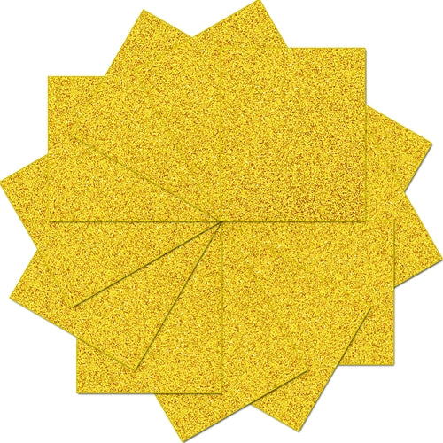 "Pack of 10""x12"" Sheets Glitter Heat Transfer Vinyl - Gold - 12 Sheets - Threadart.com"