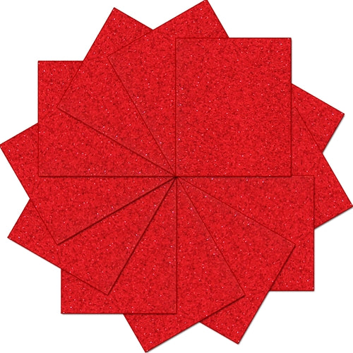 "Pack of 10""x12"" Sheets Glitter Heat Transfer Vinyl - Red - 12 Sheets - Threadart.com"
