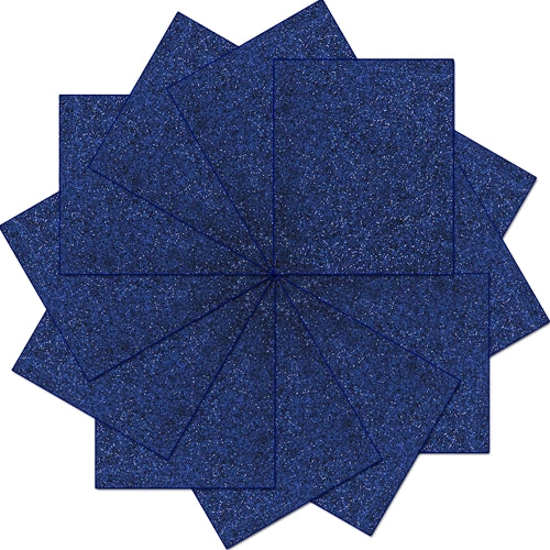 "Pack of 10""x12"" Sheets Glitter Heat Transfer Vinyl - Navy - 12 Sheets - Threadart.com"