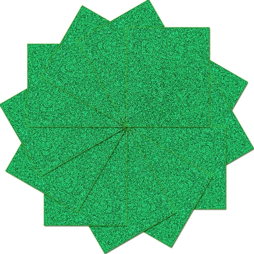 "Pack of 10""x12"" Sheets Glitter Heat Transfer Vinyl - Green - 12 Sheets - Threadart.com"