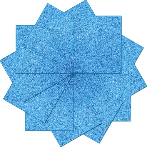 "Pack of 10""x12"" Sheets Glitter Heat Transfer Vinyl - Blue - 12 Sheets - Threadart.com"