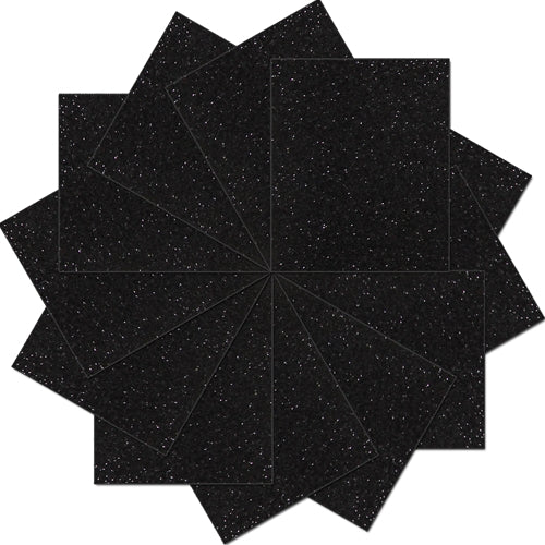 "Pack of 10""x12"" Sheets Glitter Heat Transfer Vinyl - Black - 12 Sheets - Threadart.com"