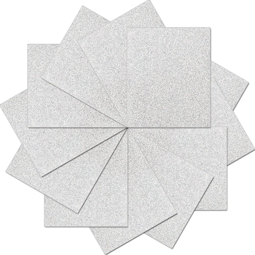 "Pack of 10""x12"" Sheets Glitter Heat Transfer Vinyl - Silver - 12 Sheets - Threadart.com"