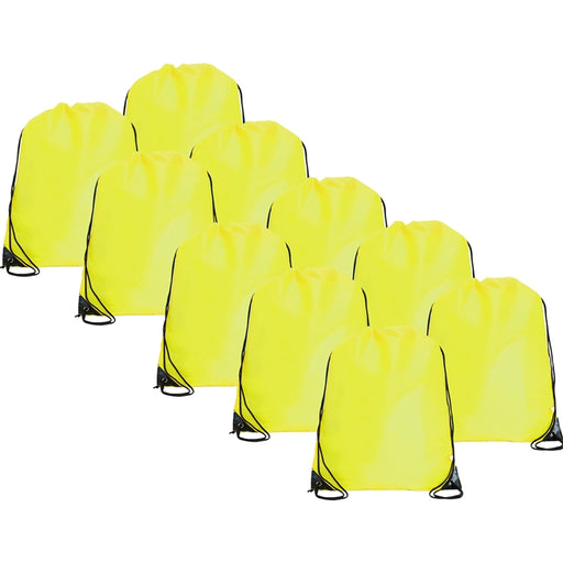 10 Drawstring Tote Bags - Neon Yellow - Threadart.com