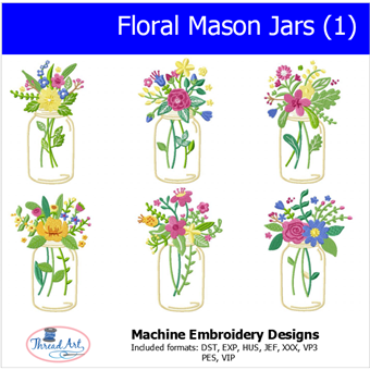 Machine Embroidery Designs - Floral Mason Jars (1) - Threadart.com