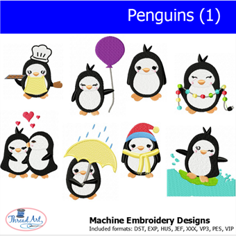Machine Embroidery Designs - Penguins (1) - Threadart.com