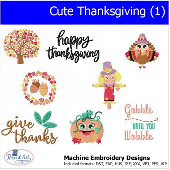 Machine Embroidery Designs -Cute Thanksgiving (1) - Threadart.com