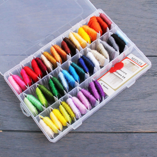 Essential 50 Color Hand Embroidery Starter Kit With Box - Threadart.com