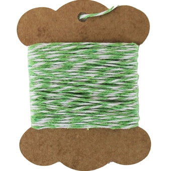 Cotton Baker's Twine - 10 Yards - ColorTwist - Green & White - Threadart.com