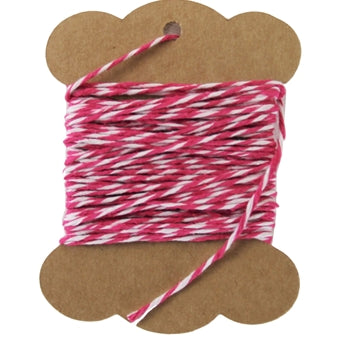 Cotton Baker's Twine - 10 Yards - ColorTwist - Hot Pink & White - Threadart.com