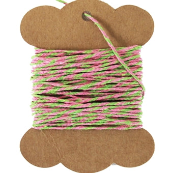 Cotton Baker's Twine - 10 Yards - ColorTwist - Pink & Green - Threadart.com