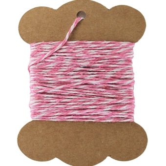 Cotton Baker's Twine - 10 Yards - ColorTwist - Pink & White - Threadart.com