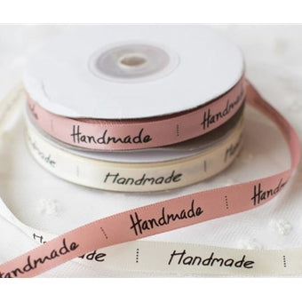 25 Yards of Satin Ribbon - With Handmade Printing - Threadart.com