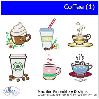 Machine Embroidery Designs -Coffee(1) - Threadart.com