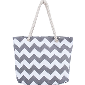 South Beach Chevron Print Canvas Tote Bag - Grey - Threadart.com