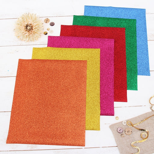"6 Rainbow Colors 10"" x 12"" Glitter Heat Transfer Vinyl Precut Sheets - Threadart.com"