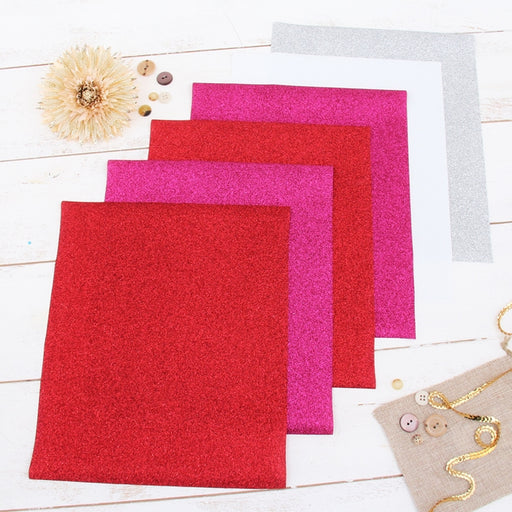 "6 Valentines Colors 10"" x 12"" Glitter Heat Transfer Vinyl Precut Sheets - Threadart.com"