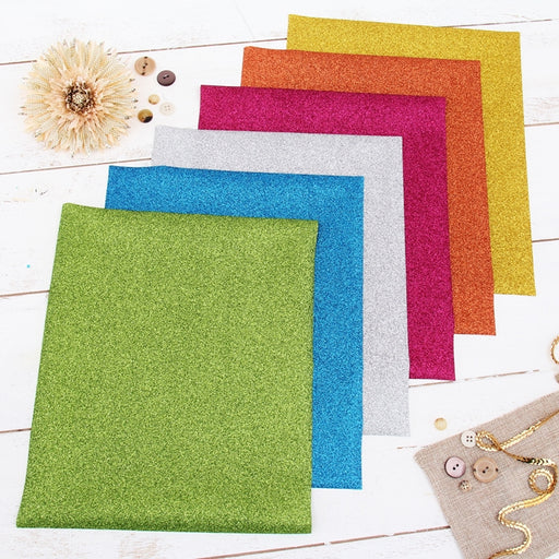 "6 Bright Colors 10"" x 12"" Glitter Heat Transfer Vinyl Precut Sheets - Threadart.com"