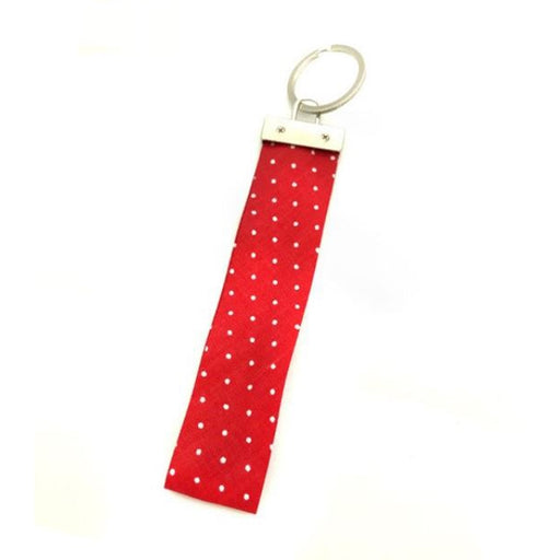 Ribbon Keychain - Red With White Dots - Threadart.com