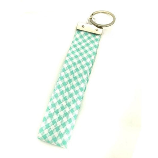 Ribbon Keychain - Green Checks - Threadart.com