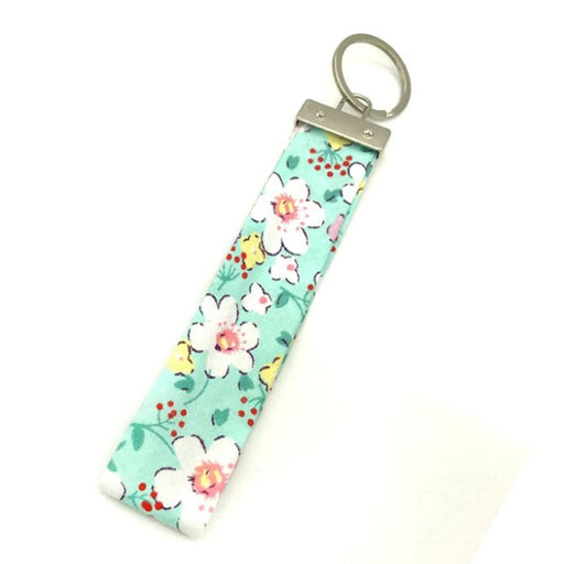 Ribbon Keychain - Light Green Floral - Threadart.com