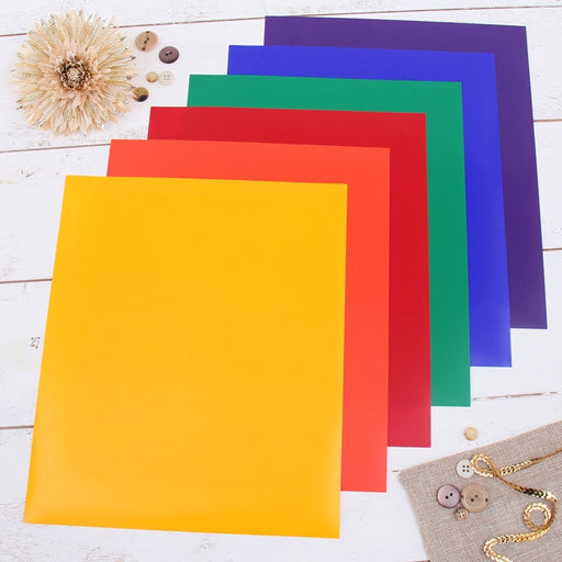 "6 Rainbow Solid Colors 10"" x 12"" Heat Transfer Vinyl Precut Sheets - Threadart.com"