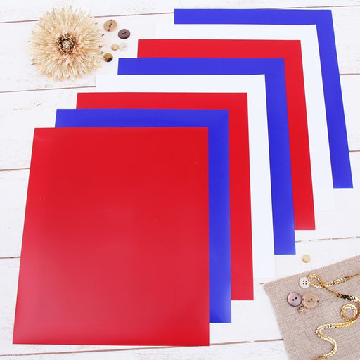 "8 Red White & Blue  Solid Colors 10"" x 12"" Heat Transfer Vinyl Precut Sheets - Threadart.com"