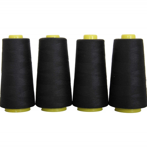 Four Cone Set of Polyester Serger Thread - Black 102 - 2750 Yards Each - Threadart.com