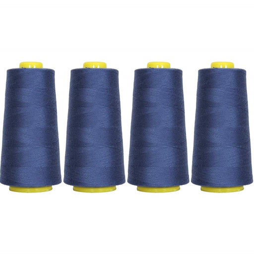 Four Cone Set of Polyester Serger Thread - Blue 250 - 2750 Yards Each - Threadart.com