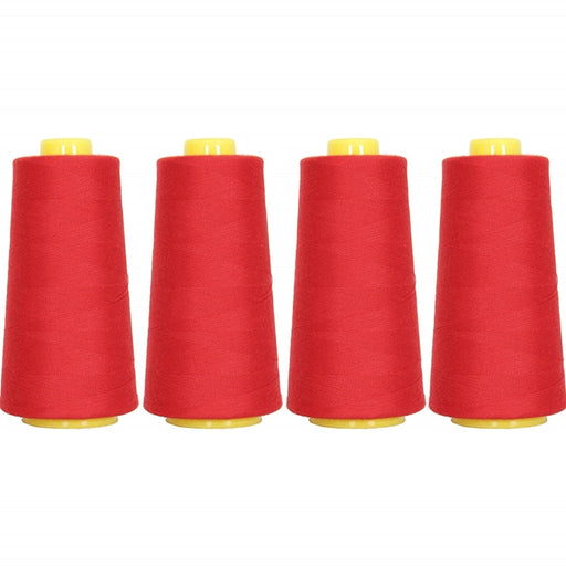 Four Cone Set of Polyester Serger Thread - Christmas Red 148 - 2750 Yards Each - Threadart.com