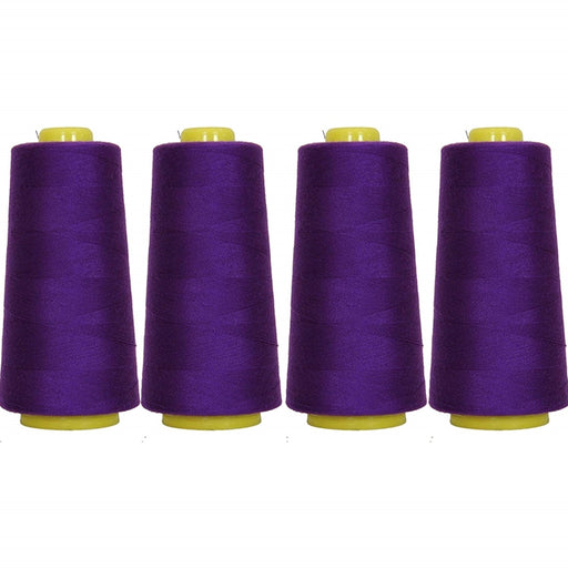 Four Cone Set of Polyester Serger Thread - Deep Purple 272 - 2750 Yards Each - Threadart.com