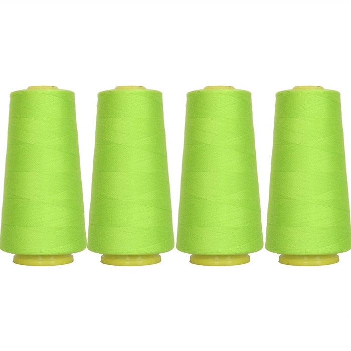 Four Cone Set of Polyester Serger Thread - Lime Green 675 - 2750 Yards Each - Threadart.com