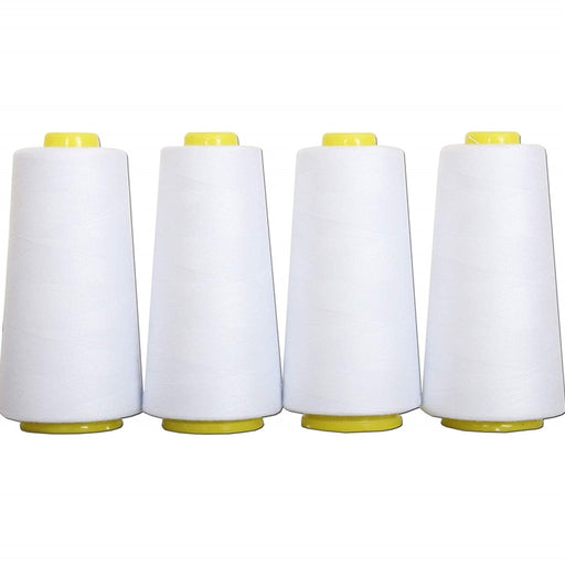 Four Cone Set of Polyester Serger Thread - White 101 - 2750 Yards Each - Threadart.com