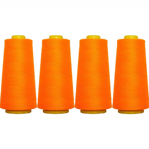 Four Cone Set of Polyester Serger Thread - Neon Orange 946 - 2750 Yards Each - Threadart.com