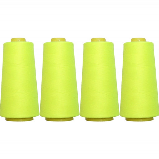 Four Cone Set of Polyester Serger Thread - Neon Yellow 823 - 2750 Yards Each - Threadart.com