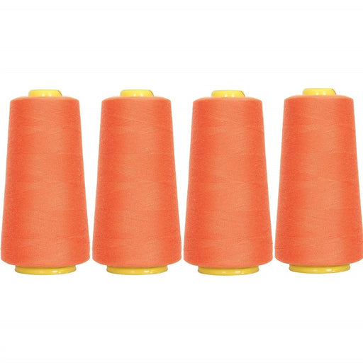 Four Cone Set of Polyester Serger Thread - Tex Orange 112 - 2750 Yards Each - Threadart.com