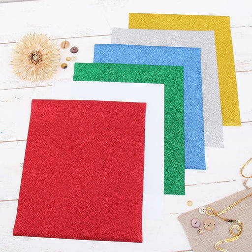 "6 Holiday Colors 10"" x 12"" Glitter Heat Transfer Vinyl Precut Sheets - Threadart.com"