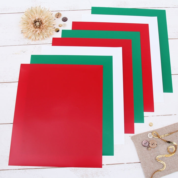 "8 Christmas Solid Colors 10"" x 12"" Heat Transfer Vinyl Precut Sheets - Threadart.com"