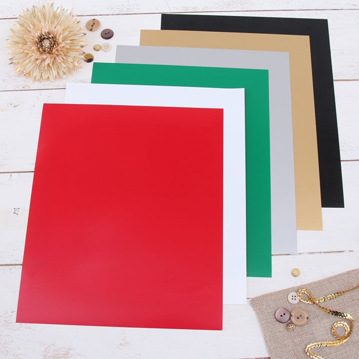 "6 Solid Holiday Colors 10"" x 12"" Heat Transfer Vinyl Precut Sheets - Threadart.com"