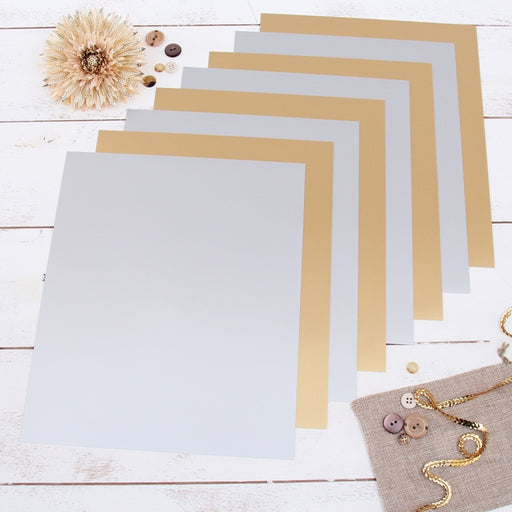 "8 Gold & Silver Solid Colors 10"" x 12"" Heat Transfer Vinyl Precut Sheets - Threadart.com"