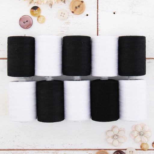 Cotton Quilting Thread Set - Black & White Spools - 1000 Meters - Threadart.com