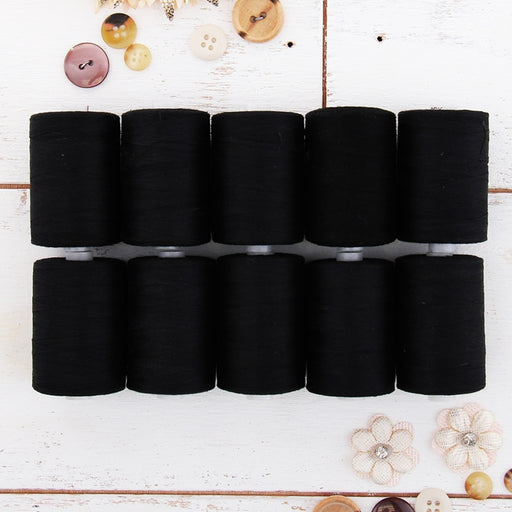 Cotton Quilting Thread Set - 10 Black Spools - 1000 Meters - Threadart.com