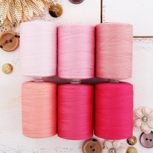 Cotton Quilting Thread Set - 6 Pink Tones - 1000 Meters - Threadart.com