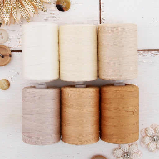 Cotton Quilting Thread Set - 6 Tan Tones - 1000 Meters - Threadart.com